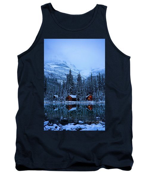 Canadian Rockies Winter Lodges Snow Reflection Tank Top