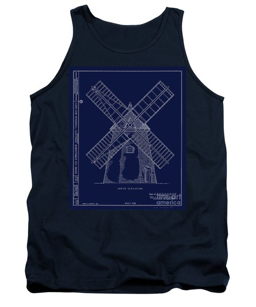 Tank Top featuring the photograph Historic Cape Cod Windmill Blueprint by John Stephens
