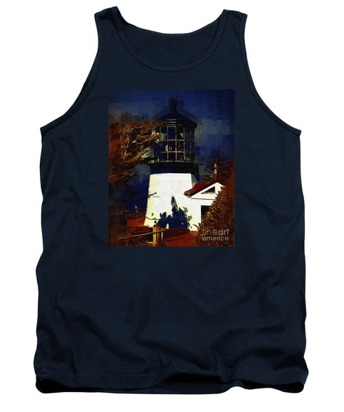 Tank Top featuring the digital art Cape Meares Lighthouse In Gothic by Kirt Tisdale
