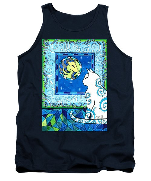 Capricorn Cat Zodiac Tank Top