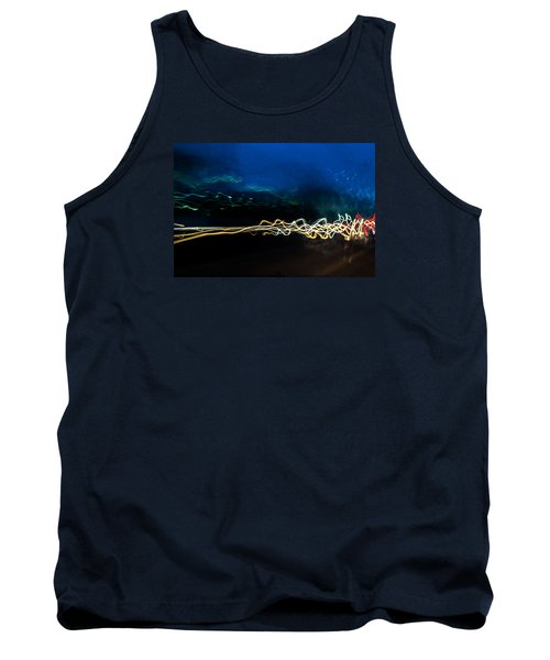 Car Light Trails At Dusk In City Tank Top