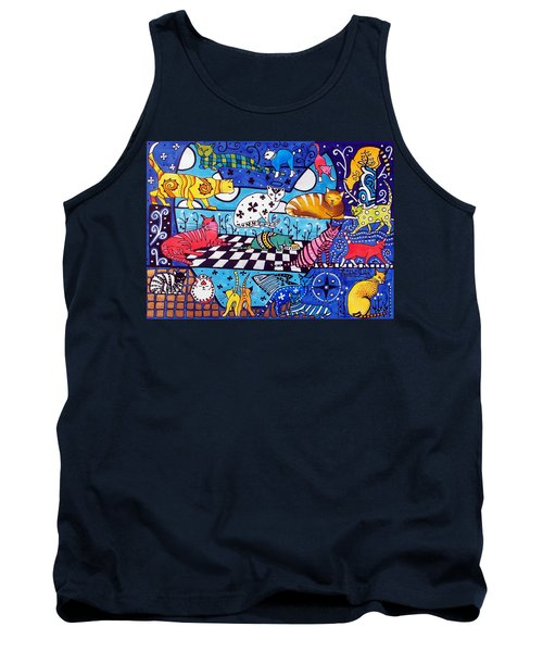Tank Top featuring the painting Cat Cocktail - Cat Art By Dora Hathazi Mendes by Dora Hathazi Mendes