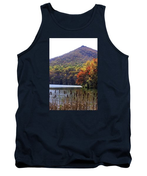 Cattails By Lake With Sharp Top In Background Tank Top