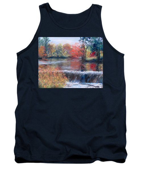 Tank Top featuring the painting Charles River, Natick by Jack Skinner