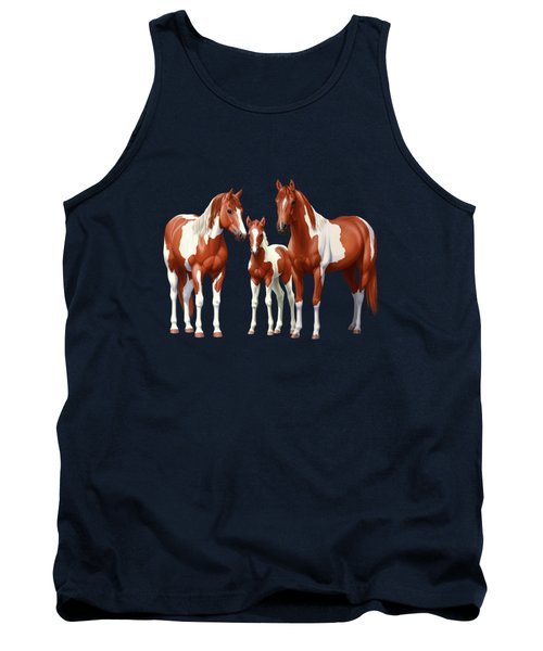 Chestnut Paint Horses In Winter Pasture Tank Top