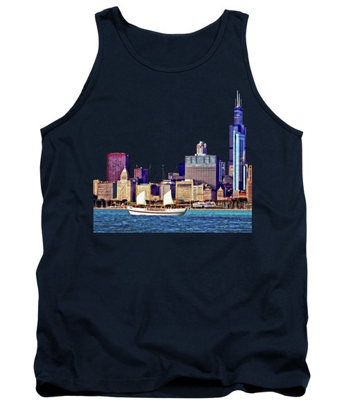 Chicago Il - Schooner Against Chicago Skyline Tank Top