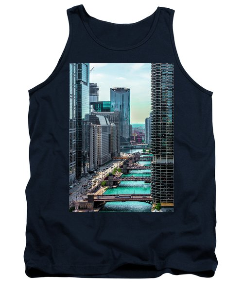 Chicago River From Londonhouse Chicago Dsc2290 Tank Top by Raymond Kunst