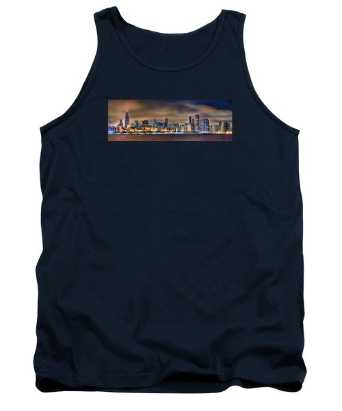 Chicago Skyline At Night Panorama Color 1 To 3 Ratio Tank Top by Jon Holiday