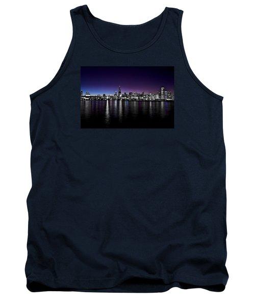 Chicago Skyline Bnw With Blue-purple Tank Top by Richard Zentner