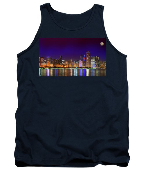 Chicago Skyline With Cubs World Series Lights Night, Moonrise, Lake Michigan, Chicago, Illinois Tank Top