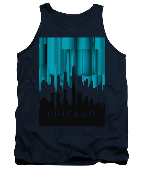Tank Top featuring the digital art Chicago Turqoise Vertical In Negetive by Alberto RuiZ