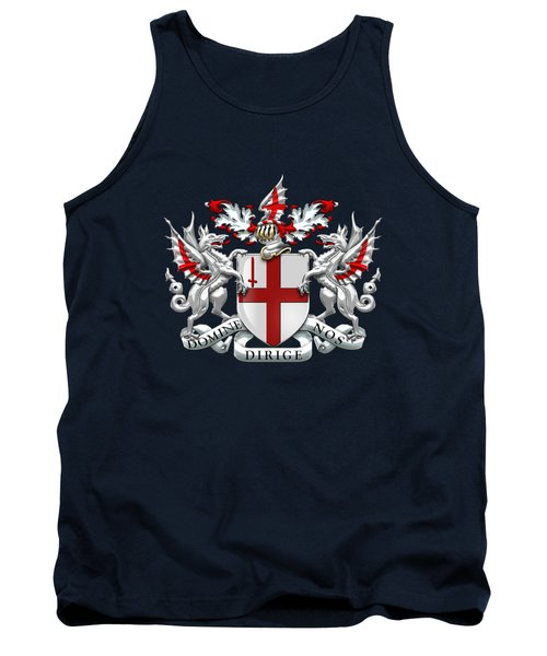 City Of London - Coat Of Arms Over Blue Leather  Tank Top