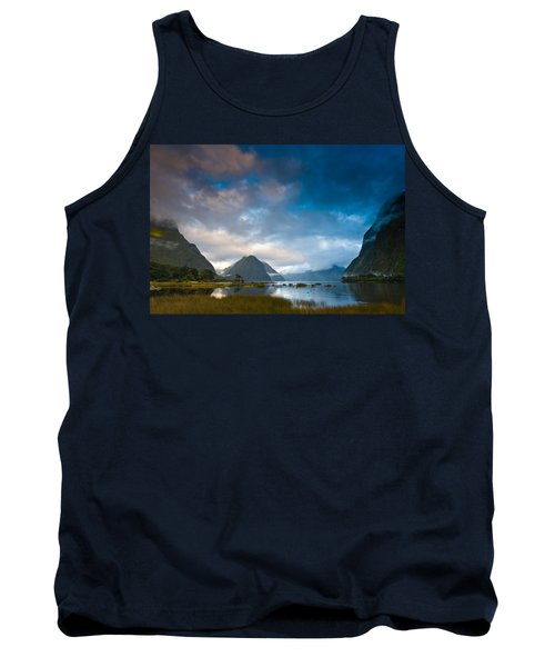 Cloudy Morning At Milford Sound At Sunrise Tank Top
