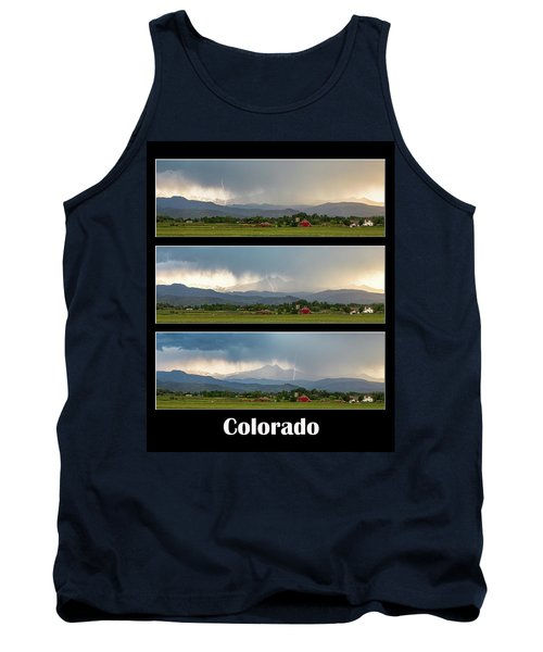 Tank Top featuring the photograph Colorado Front Range Longs Peak Lightning And Rain Poster by James BO Insogna