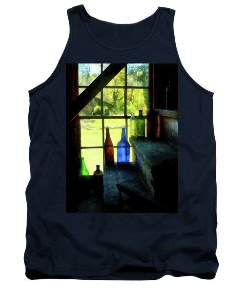 Colored Bottles On Steps Tank Top by Susan Savad