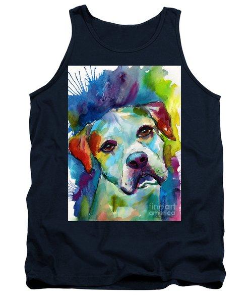 Colorful American Bulldog Dog Tank Top by Svetlana Novikova
