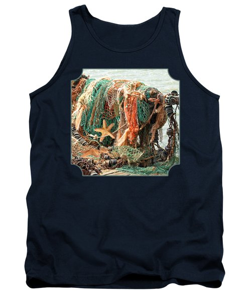 Colorful Catch - Starfish In Fishing Nets Square Tank Top