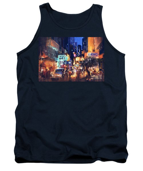 Tank Top featuring the painting Colorful Night Street by Tithi Luadthong