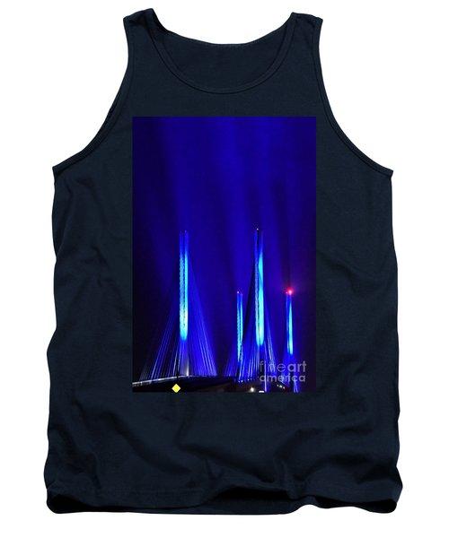 Blue Light Rays - Indian River Inlet Bridge Tank Top