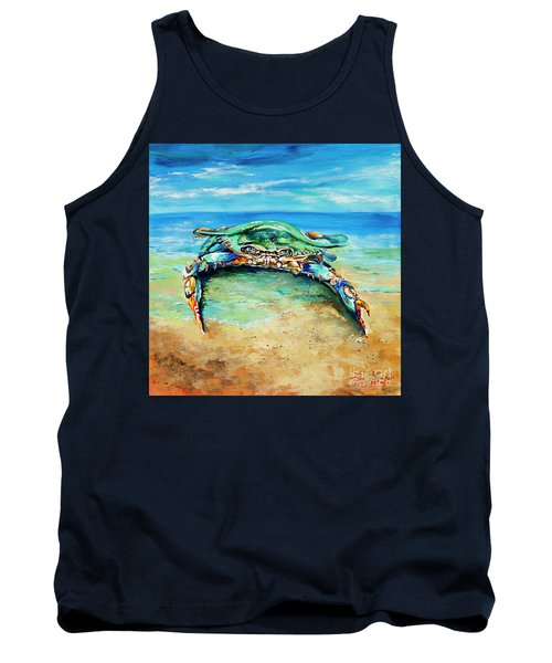 Crabby At The Beach Tank Top by Dianne Parks
