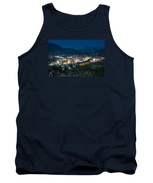Crested Butte Village Under Full Moon Tank Top by Michael J Bauer