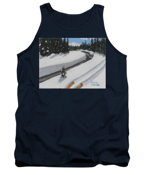 Cross Country Skiing Lone Star Geyser Trail In Yellowstone Nat. Park Tank Top