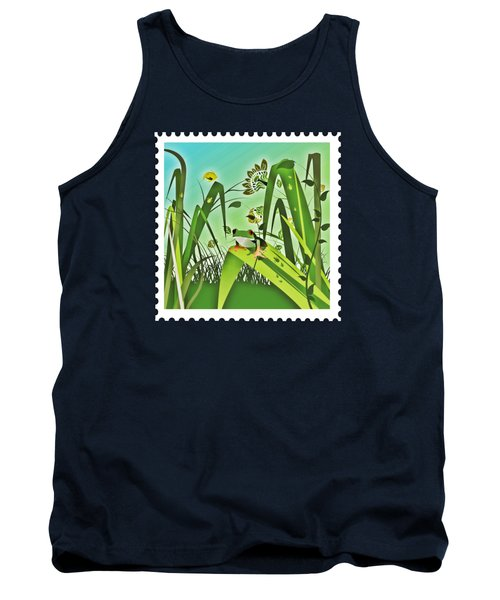 Cute Frog Camouflaged In The Garden Jungle Tank Top by Elaine Plesser