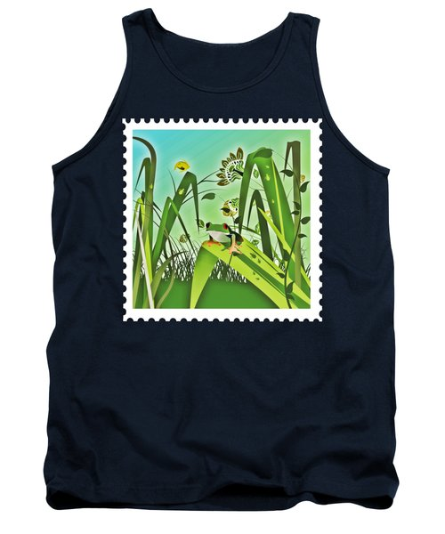 Cute Frog Camouflaged In The Garden Jungle Tank Top