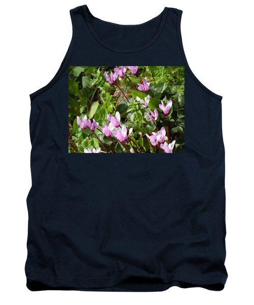 Cyclamen In Spring Tank Top by Esther Newman-Cohen