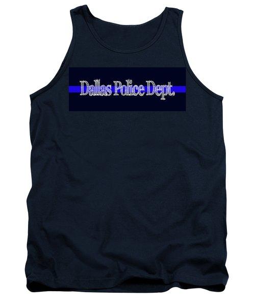Dallas Police Dept. Blue Line Mug Tank Top by Robert J Sadler