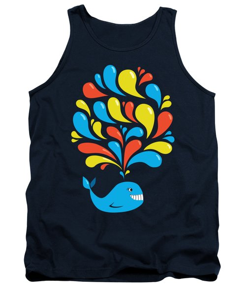 Dark Colorful Splash Happy Cartoon Whale Tank Top by Boriana Giormova