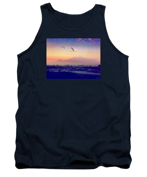 Dawn With Storks And Ararat From Night Train To Yerevan Tank Top by Anastasia Savage Ealy