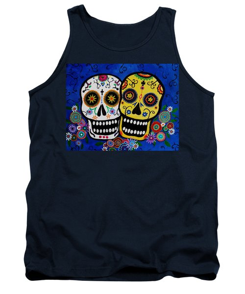 Tank Top featuring the painting Day Of The Dead Sugar by Pristine Cartera Turkus