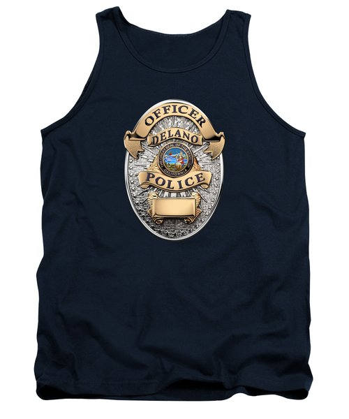Tank Top featuring the digital art Delano Police Department - Officer Badge Over Blue Velvet by Serge Averbukh