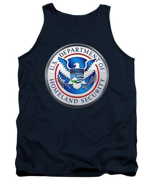 Department Of Homeland Security - D H S Emblem On Blue Velvet Tank Top
