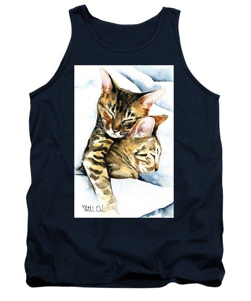 Dreamland - Bengal And Savannah Cat Painting Tank Top