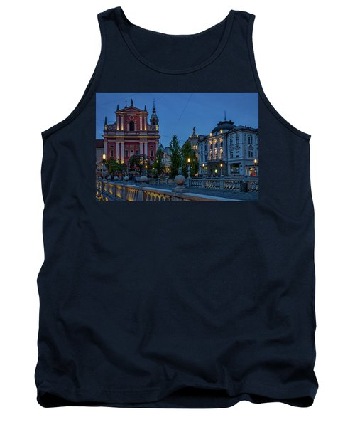 Tank Top featuring the photograph Dusk At The Triple Bridge - Slovenia by Stuart Litoff