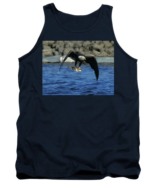 Tank Top featuring the photograph Eagle With Fish Flying by Coby Cooper