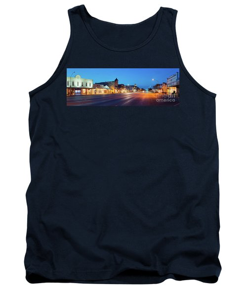 Early Morning Panorama Of Fredericksburg Main Street - Gillespie County Texas Hill Country Tank Top