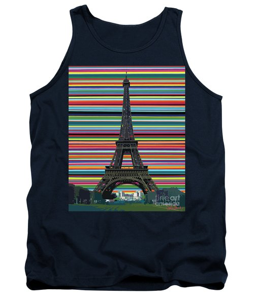 Tank Top featuring the painting Eiffel Tower With Lines by Carla Bank