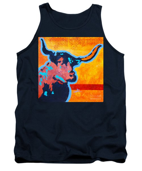 Tank Top featuring the painting Electric Longhorn by Ron Stephens