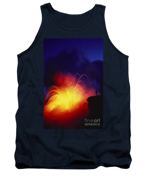 Exploding Lava And Person Tank Top by Greg Vaughn - Printscapes