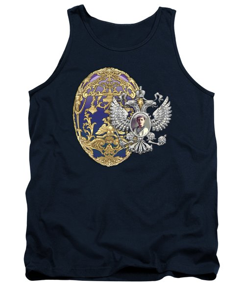 Faberge Tsarevich Egg With Surprise On Blue Velvet Tank Top