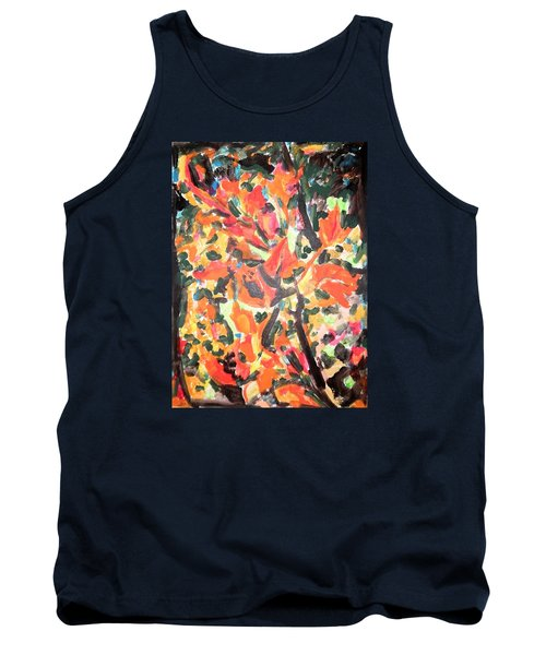 Tank Top featuring the painting Fall Forest In Red And Black by Esther Newman-Cohen