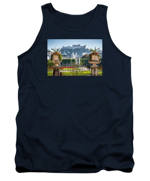 Famous Mirabell Gardens In Salzburg Tank Top by JR Photography