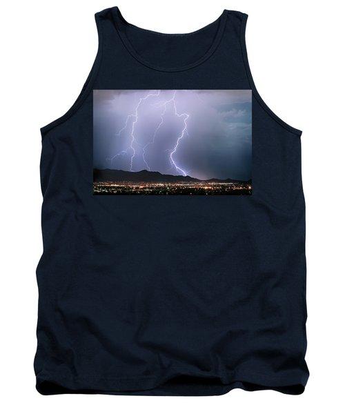 Fantastic Lightning Show Over City Lights Tank Top