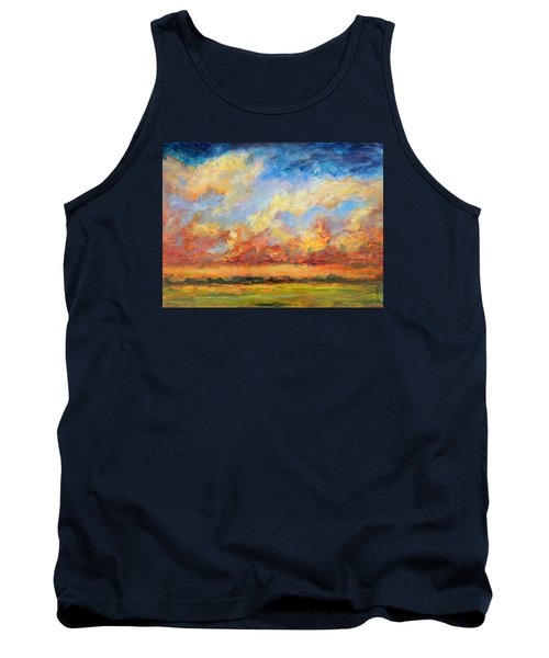 Tank Top featuring the painting Feathered Sky by Mary Schiros