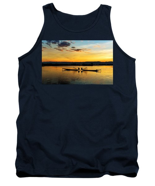Fisherman On Their Boat Tank Top