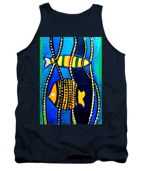 Tank Top featuring the painting Fishes With Seaweed - Art By Dora Hathazi Mendes by Dora Hathazi Mendes