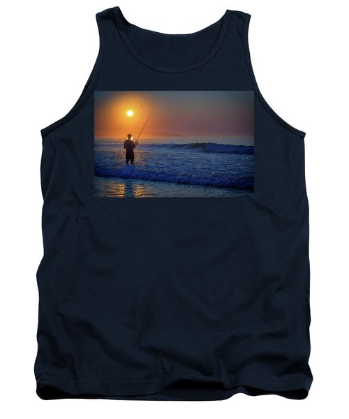 Tank Top featuring the photograph Fishing At Sunrise by Rick Berk